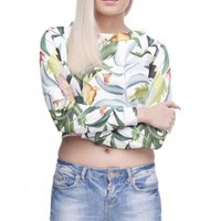 Tropical Printed Crop Hoodies