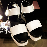 Summer Stylish Design Leather Thick Crust Platform With Heel Round-toe Casual Sandals [4920468996]