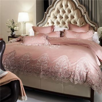 luxury white pink princess bedding set king queen duvet cover bed sheet set egypt cotton lace embroidery bed set juego de cama