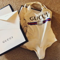 Cute GUCCI One-Piece Swimsuit One-piece Swimsuit Bikini Set