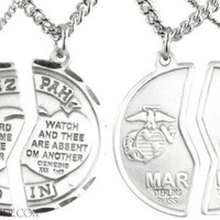 Mizpah Sterling Silver Marine Corps Medal