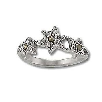 Sterling Silver 3 Genuine Marcasite Stone Star Ring
