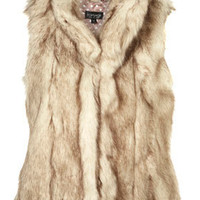 Cream Faux Fur Gilet - Glam Underground  - Designers  Collections  - Topshop