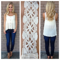 Oatmeal Lace Strap Button Up Tank