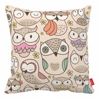 Cartoon Owl Cushion Cover Beige Sofa Pillows Throw Pillows For Couch Sofa Pillows 18x18