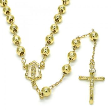 Gold Layered 09.213.0012.28 Medium Rosary, Guadalupe and Crucifix Design, Polished Finish, Golden Tone