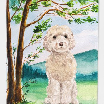 Under the Tree Goldendoodle Flag Canvas House Size CK2019CHF