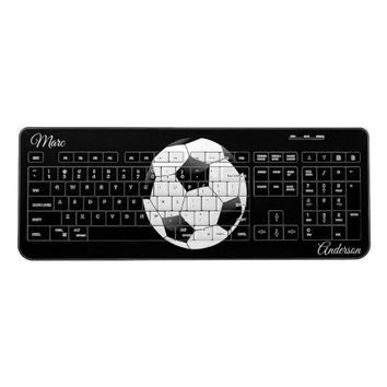 Soccer Ball Black and White Sports with Name Wireless Keyboard