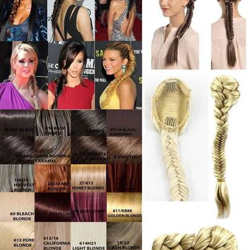 CELEBRITY NEW HAIR EXTENSION CLIP IN PONYTAIL FISHTAIL STYLE BRAIDED HAIRPIECE