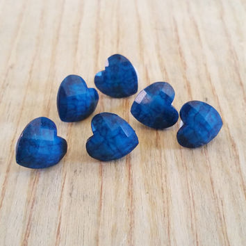 "Thumbtacks, Pushpins, Deep Blue Marbled Faceted Hearts Acrylic Resin - 1/2""  Cubicle Office Decor, Cork Boards, Dorm Decor"