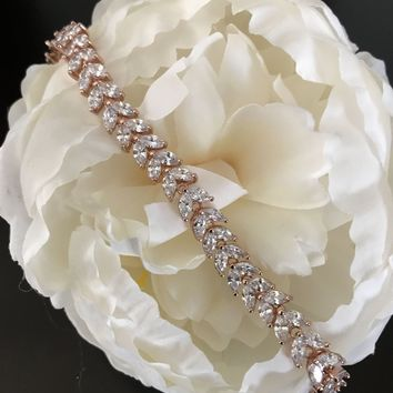 CZ Fine Diamante Rose Gold Jeweled Marquise Leaf Vine Tennis Bracelet