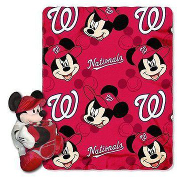 Washington Nationals MLB Mickey Mouse Throw and Hugger Pillow Set