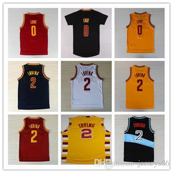 2 Kyrie Irving Jersey Basketball New Rev 30 Kevin Love 0 Shirts Uniform Cheap Trowback Red White Yellow Black Navy Blue,Mix Order