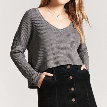 High-Low Waffle Knit Top