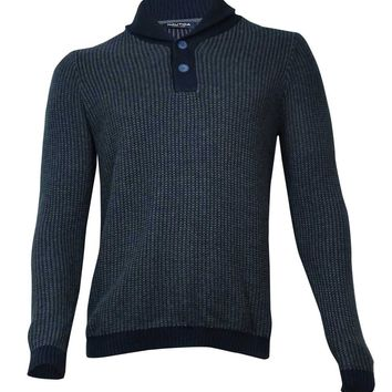 Nautica Men's Button Placket Shawl Collar Sweater S, Navy
