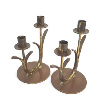 Brass Candlesticks Ibe Konst Mid Century Modern Ystad Metall Made in Sweden hollywood regency