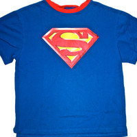 Vintage Classic Ringer Neck Superman Shirt Mens Size Medium