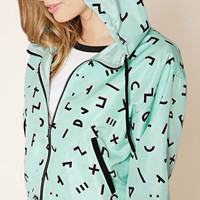Abstract Print Hooded Jacket | Forever 21 - 2000222325
