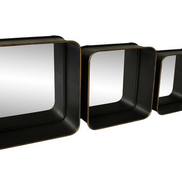 Azo Industrial Chic Shadow Mirrors Set Of 3 Black