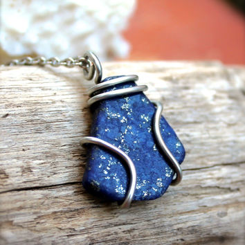Lapis Lazuli Necklace, Blue Stone Jewelry made in Hawaii, Wire Wrapped Stone Pendant, Bohemian Jewelry, Bohemian Necklace