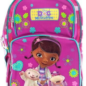 "Disney Junior Doc Mcstuffins 16"" Canvas Red & Purple School Backpack"