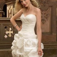 Sheath/Column Sweetheart Ruffles Organza Short/Mini Wedding Dress at Dresseshop