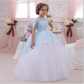 Light Blue Flower Girls Dresses Ball Gown Pageant Dresses For Girls Glitz Lace Appliques Bow Sash Evening First Communion Dress
