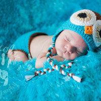 Newborn Baby Boy Crochet OWL with Braids Blue n Brown Diaper Cover -n- Beanie Hat Set -- Adorable Photo Prop