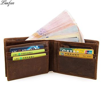 Men's Crazy horse Leather pocket wallet Cow leather trifold wallet with snap coin pocket Genuine leather bifold wallet