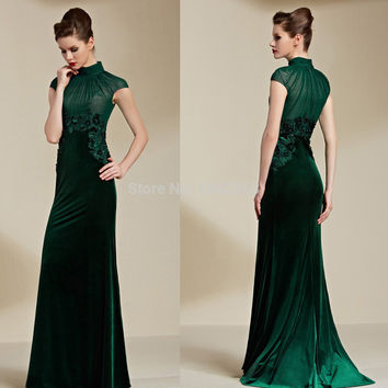 Elegant Dark Green Velvet High Neck Appliques A-line Long Prom Dresses 2015 vestidos