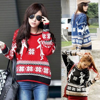 Lovely Women Lady Casual Christmas Deer Pullover Crewneck Loose Knit Sweater