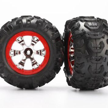 7272 - Tires and wheels, assembled, glued (Geode chrome, red beadlock style wheels, Canyon AT tires, foam inserts) (1 left, 1 right)