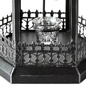 Tea Light Candle Lantern Antiqued Black Gothic Glass Scrollwork Candle Holder