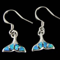 INLAY BLUE WHITE OPAL STERLING SILVER 925 HAWAIIAN WHALE TAIL HOOK EARRINGS 12MM