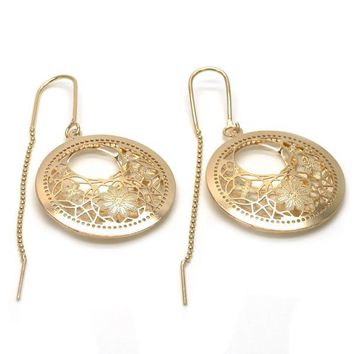 Gold Layered 02.32.0539 Threader Earring, Flower and Filigree Design, Polished Finish, Golden Tone