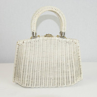 Vintage 1950s White Wicker Handbag Mid Century Basket Purse Top Handles