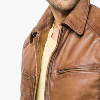 BROWN NAPPA LEATHER JACKET - Leather jackets - MEN - United States