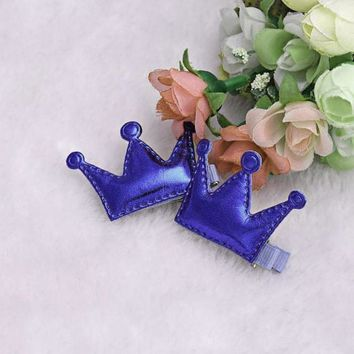 2Pcs Crown Hairpin Girls Christmas Party Princess Hair Clips Leather Cute Korean Hair Accessories Grampo De Cabelo#121