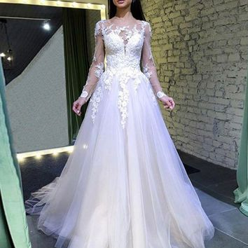 Fashionable Sexy Lace Perspective Dress Round Collar Pure Wedding Dress Long