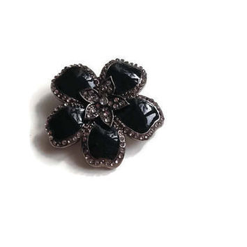 Marcasite Brooch Flower Design with Tiny Rhinestones, Silvertone Brooch, Flower Brooch, Art Deco Brooch,