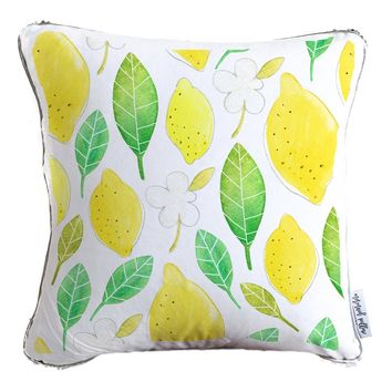 Lemon, Fruit & Flowers Watercolor Throw Pillow w/ Reversible Gold & White Sequins | COVER ONLY (Inserts Sold Separately)