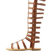Cognac Flat Knee-High Gladiator Sandals by Charlotte Russe