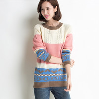 Women Sweater 2015 Autumn Winter Fashion Casual Women Plus Size Knitted Spell Color Stitching Pink Pullover Sweater Coat = 1945990916