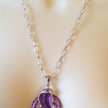 purple cobra snake necklace, snake pendant, serpent necklace, animal necklace, silver chain necklace handmade crystal jewelry