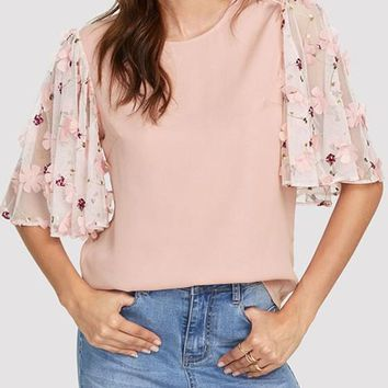 Pink Draped Cut Out Flare Sleeve Going out Sweet Chiffon Blouse