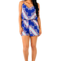 Days Gone By Romper: Royal Blue/Multi