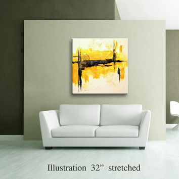 "36"" Yellow Gray Black Original Square Abstract Painting on Canvas Wall Art Home Decor Wall Hanging Unstretched AU31"