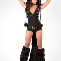 J. Valentine Black Cat Romper Costume : Cute Sexy Rave Outfits from RaveReady