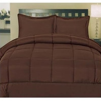 Cozy Home Down Alternative 5 Piece Embossed Comforter Set - Brown (Queen)