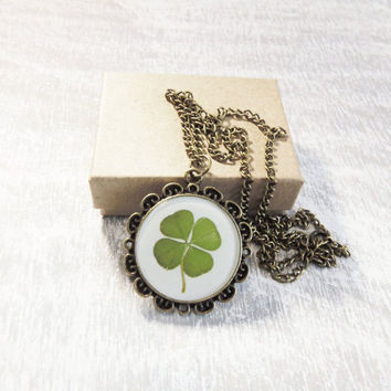 Clover necklace floral necklace four leaf clover St. Patrick's day necklace